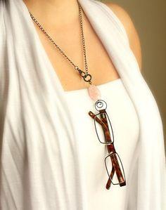Rose Quartz Eyeglass Holder Necklace by TesoroDelSol on Etsy