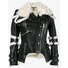 Alexander Mcqueen Shearling Trim Jacket (81.439.180 IDR) ❤ liked on Polyvore featuring outerwear, jackets, black, zip up jackets, oversized collar jacket, zipper jacket, biker style jacket and alexander mcqueen jacket