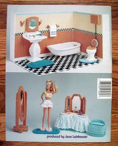 Fashion Doll Bathroom in Plastic Canvas for by grammysyarngarden, $12.00