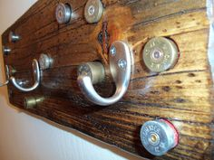 3 Hook Shot Gun Shell Coat Rack by WhatWeMade on Etsy, $32.00. Forget that I am going to make one
