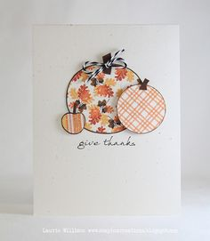 simple, yet adorable fall/thanksgiving card    circle punch large and small, small heart punch (trim off bottom of heart)