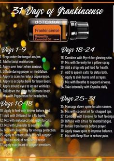 31 ways to use frankincense essential oil and experience all of the amazing benefits! -- Click the link on the photo to get started with frankincense and the other top most used oils! Frankincense Essential Oil Benefits, Doterra Frankincense, Doterra Essential Oils, Doterra Blends, Meditation, Essential Oil Diffuser Blends, Doterra Diffuser, 31 Days, Aromatherapy