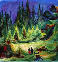 Edvard Munch, Der Märchenwald, The Enchanted Forest, 1927 Edvard Munch, Wassily Kandinsky, Amedeo Modigliani, Oil Painting Reproductions, Nocturne, Banksy, Oeuvre D'art, Monet, Les Oeuvres