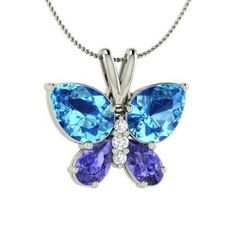 Pear-Cut Blue Topaz Nature Necklace in 14k White Gold with Tanzanite ,SI Diamond