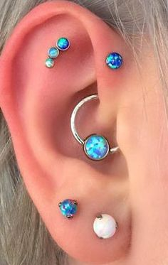 Multiple Ear Piercing Ideas - Dazzle Blue Opal - Triple Forward Helix - Tragus Stud - MyBodiArt.com