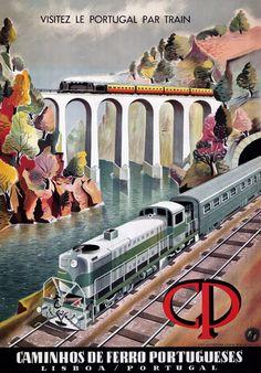 TX112 Vintage Portugal Lisbon Portuguese Railway Travel Poster A4