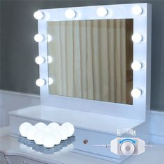 Dilwe Hollywood Style LED Vanity Mirror Lights Lamp Kit with Dimmable Light Bulbs for Makeup Vanity Table Set in Dressing Room Image 1 of 7 Hollywood Style Mirror, Hollywood Makeup Mirror, Hollywood Lights, Makeup Vanity Lighting, Makeup Table Vanity, Led Makeup Mirror, Mirror Mirror, Vanity Ideas, Bulb Mirror