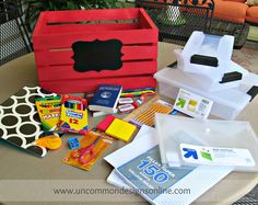 Create a portable DIY Homework Station. This tutorial will show you how to gather all your homework essentials and make a fun crate to haul it all in! Homework Station Diy, Homework Area, Homework Organization, Organization Ideas, Organizing, Craft Station, After School Routine, School Routines, School Hacks