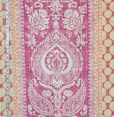 Provence fabric Indienne paisley panel violet salmon rose pink from Brick House Fabric: Novelty Fabric