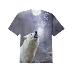 Stars Lie Hidden In Your Soul (Wolf Howl Galaxy) Unisex T-Shirt II from Print All Over Me