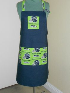 Seattle Seahawks football team apron great for BBQ lime green