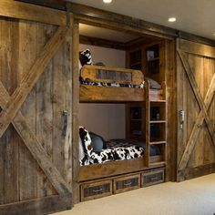 Sliding doors - for outdoor living & indoor fun  Def use different wood but love the sliding doors to hide the beds!