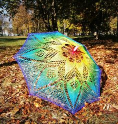 Rainbow Mandala Parasol by babukatorium on Etsy Lace Parasol, Antique Fans, Rainbow Crochet, Crochet Shawls And Wraps, Neon Green, Orange Yellow, Blue, Christmas Star, Star Shape