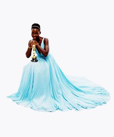 """Inspired by the Oscars: what we're poaching!  Half the fun of the Oscars is checking out our favorite celebrities in gowns almost as amazing as their acting. Since we're your Shopping Sidekick, PoachIt picked the best-dressed threads and poached from inspiration.  Lupita Nyong'o stunned at the Oscars in what everyone is calling the """"Nairobi Blue"""" Prada Gown. #poachit"""