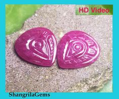 Ruby Pair heart shape carved gemstones by by Ruby Necklace, Ruby Jewelry, Ruby Beads, Crystal Beads, Crystals, Red Gemstones, Chakra Stones, Natural Ruby, Heart Chakra