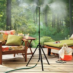 Hook up your garden hose to the Cool Mist Tower for aninstant cool-down. Great for the kid's play area, dog runs, a greenhouse...just about any area that needs cooling.