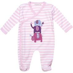 Pink Stripe Elephant Baby Sleepsuit, Baby Sleepsuits and Bodies, Baby Clothes
