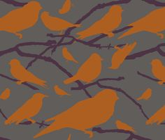 Multi-colored Birds, 3 fabric by flyingcanvasstudio on Spoonflower - custom fabric