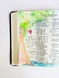 psalm 1, deeply rooted, watercolor tree, illustrated faith bible journaling by MamaBleu.com
