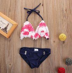 Cute Toddler Kids Baby Girls Pink Flower Tankini Bikini Set Swimwear