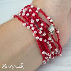 crochet bracelet - no pattern but looks pretty easy to figure out. Would also be pretty in black w Swarovski crystals Bracelet Crochet, Crochet Beaded Necklace, Crochet Rings, Bead Crochet, Diy Crochet, Crochet Crafts, Beaded Jewelry, Handmade Jewelry, Beaded Bracelets
