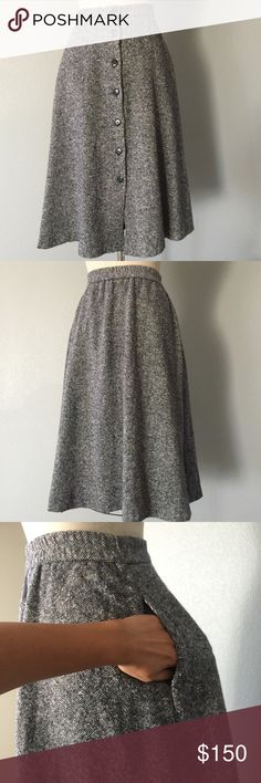 Orvis 70's style tweed skirt This Wool panel, 7 button, skirt possesses an enduring style that evokes a classic 70's style that's is back in fashion. Add you knee high boots for a chic fall look.  Tweed 80% wool 20% Nylon  invisible side pockets Size 8, can fit a 6-8 retail $325 + tax.  ✅ will bundle ✅ ✅ all reasonable offers will be considered  No Trading  Poshmark rules only‼️ Measurements taken laying flat Ⓜ️ waist 15 Ⓜ️Length 29 Orvis  Skirts Midi