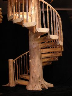 30 Unique Outdoor Wooden Stairs Ideas That Will Enhance Your Garden Beauty / -Amazing 30 Unique Outdoor Wooden Stairs Ideas That Will Enhance Your Garden Beauty / - Rustic Pine Spiral Staircase Custom Made to order Cabin Homes, Log Homes, Tiny Homes, Stair Gallery, Wooden Stairs, Painted Stairs, Staircase Design, Staircase Ideas, Modern Staircase
