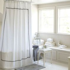 Who has designer shower curtains? Find the best shower curtains, shower curtain designs, and extra long shower curtains at Ballard Designs! Gray Shower Curtains, Black Curtains, Wooden Bar Stools, Ballard Designs, Headboards For Beds, Home Office Furniture, White Bathroom, Master Bathroom, Amelie