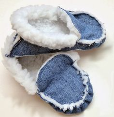 Warm slippers as moccasins, from jeans.  Slippers from jeans