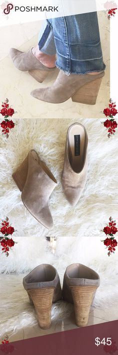 🌹SALE🌹STEVEN Merciie Suede Mule Clog Wedges STEVEN Natural Suede Pointed Toe Wedge Mule Pumps Merciie, STEVEN by Steve Madden. Leather upper, synthetic lining/sock, manmade outsole This item has been gently used. Very small mark in the heel (right shoe) is shown in photo #3. Overall great condition!!! Steven By Steve Madden Shoes Mules & Clogs