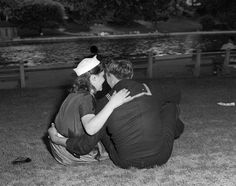 A sailor and his girl in Central Park, New York City, 1951.