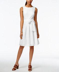 Tommy Hilfiger Illusion-Striped Fit & Flare Dress - Dresses - Women - Macy's