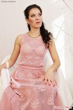 """Здравствуйте, дорогие рукодельницы!!!  Мне, как и многим очень понравилрсь платье """" Нежная Роза"""", связанное Дарьей!!! Filet Crochet, Crochet Doilies, Knit Crochet, Vestidos Vintage, Vintage Dresses, Mexican Embroidery, Sewing For Beginners, Crochet Clothes, Knit Dress"""