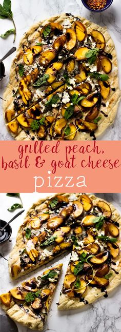 This Grilled Peach, Basil and Goat Cheese Pizza is topped with soft grilled peaches, creamy goat cheese and a delicious tangy balsamic drizzle.