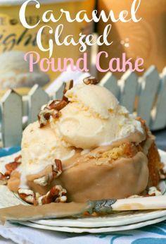 ❥ Caramel Glazed Butter Pound Cake - recipe at http://www.bloomingonbainbridge.com/2012/09/caramel-glazed-pound-cake.html
