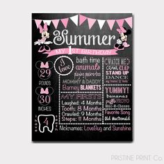 Minnie Mouse Pink Birthday Chalkboard Minnie by PristinePrintCo