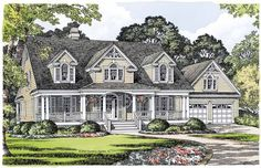 Home Plan HOMEPW07093 - 2647 Square Foot, 3 Bedroom 3 Bathroom Victorian Home with 2 Garage Bays | Homeplans.com