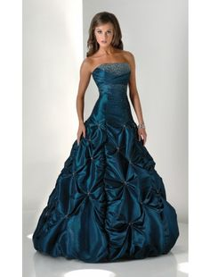 Teal ball gown.