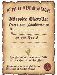 Thème chevalier : marque-place, épée, bouclier, château, drapeaux ...