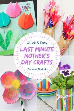 Quick, Easy & Last Minute Mother's Day Crafts & Cards - Dynamic Dad Easy Mother's Day Crafts, Quick Crafts, Mothers Day Crafts, Craft Stick Crafts, 5 Minute Crafts, Crafts For Kids, Mothering Sunday, Non Toy Gifts, Heart Cards