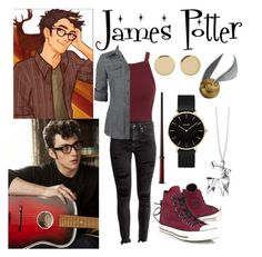 """James Potter"" by aquatic-angel ❤ liked on Polyvore featuring Miss Selfridge, Magdalena Frackowiak, Converse, Origami Jewellery and CLUSE"