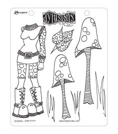 "Dyan Reaveley's Dylusions Cling Stamp Collections 8.5""X7""-Shrooms"
