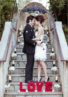 black--red-white wedding
