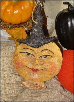 Vintage Style Paper Mache Moon Witch