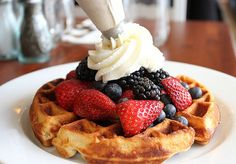 Waffles and Strawberries ♥  We Heart It