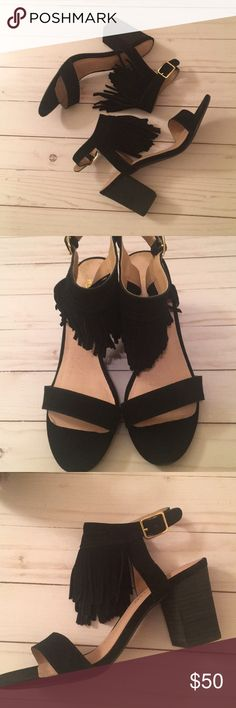 Restricted black suede fringe sandals size 7.5 NWT Restricted black suede fringe sandals size 7.5. New in Box.  3 inch heel. Restricted Shoes Sandals