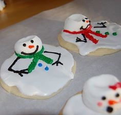 Melted Snowman Cookies     •1 package Betty Crocker Sugar Cookie Mix  •10 large marshmallows  •Betty Crocker Cookie Icing (white and orange)  •Wilton Decorating Icing Tubes in Black, Red, Green, Blue and Pink  ***it would have been a lot cheaper if I had just made the icing myself, see Stacy's tutorial for a good recipe)***    Here's what I