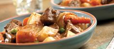 Colorful, hearty and tender, this slow-cooked stew features all the traditional ingredients of a good beef stew: beef, carrots, onion, potatoes and peas in a rich gravy.
