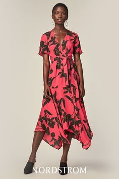 Shadowy blossoms swirl atop the breezy silk of this figure-flattering midi dress finished with a softly swaying handkerchief hem. Outfits For Teens, Cute Outfits, Wrap Dress, Dress Up, Nordstrom Dresses, Day Dresses, Dress Patterns, Pretty Dresses, Blossoms