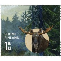 Postage Stamp Art, Penny Black, Mail Art, Natural History, Fossils, Finland, Moose Art, Paper, Nature